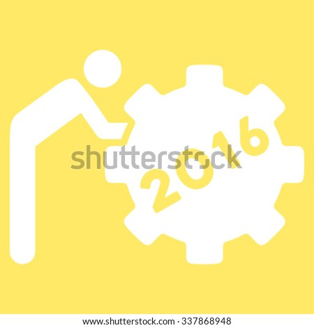 2016 Working Man vector icon. Style is flat symbol, white color, rounded angles, yellow background. - stock vector