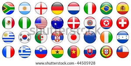 2010 World Cup Team Flag Internet Buttons Original Vector Illustration - stock vector