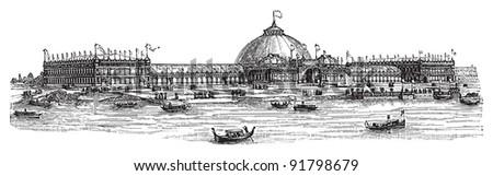 World exhibition building Chicago 1893 / illustration from Meyers Konversations-Lexikon 1897 - stock vector