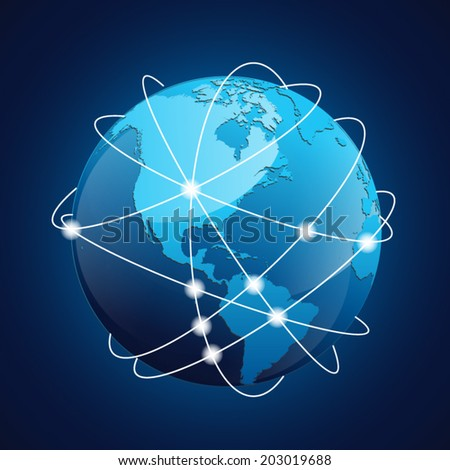 World Globe Navigation Concept Vector With Blue Color - stock vector