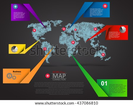World Map with info bar and description, graphic elements.  - stock vector