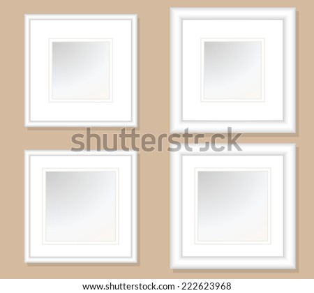 5x5 and 6x6 Square Photo Art Frames with double Mats, with .5 & 1 inch frames widths each. Fully editable.  - stock vector
