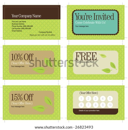 3.5x2 business card and promo cards (includes crop marks, key line and bleed) - stock vector