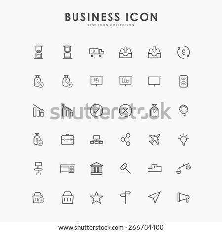 6x6 business line icons - stock vector