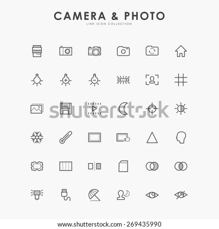 6x6 camera and photo line icons - stock vector