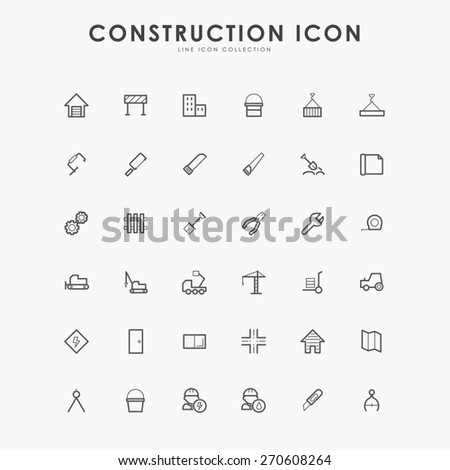 6x6 construction line icons - stock vector