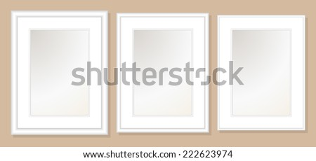 18x24  Double Mats & Frame for 13x19 Photo Art. 3 frame widths: .5, 1, & 1.5 inch. Fully customizable. - stock vector