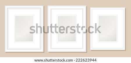 8x10  Double Mats & Frame for 5x7 Photo Art.;3 frame widths: .5, 1, & 1.5 inch. Fully customizable. - stock vector