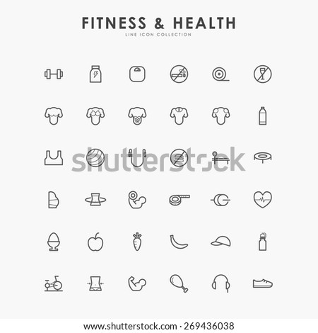 6x6 fitness and health line icons - stock vector