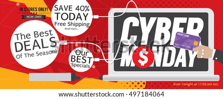 8000x3200 Pixel Cyber Monday Super Wide Banner Vector Illustration