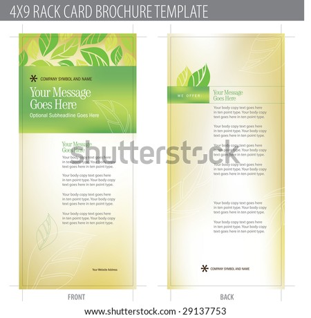 4x9 Rack Card Brochure Template (includes cropmarks, bleeds, and keyline - elements in layers) - stock vector