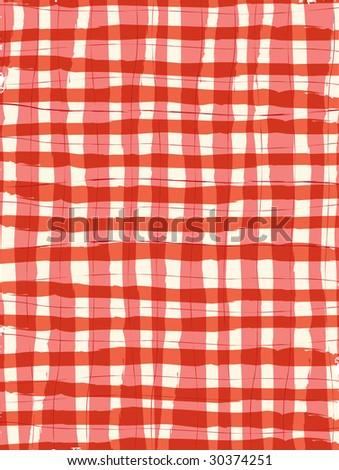 8.5x11 Red Brush Stroke Gigham Background - stock vector