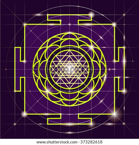 Yantra - cosmic conductor of energy. Yantra Sree . Sacred Geometry - stock vector