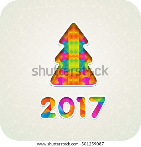 2017 year and Christmas tree in a mosaic style cut paper. Colorful. Eps10.