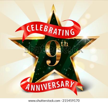 9 year anniversary celebration golden star ribbon, celebrating 9th anniversary decorative golden invitation card - vector eps10 - stock vector