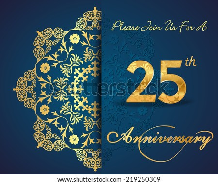 25 year anniversary celebration pattern design stock vector 25 year anniversary celebration pattern design 25th anniversary decorative floral elements ornate background stopboris Image collections