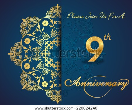 9 year anniversary celebration pattern design, 9th anniversary decorative Floral elements, ornate background, invitation card - vector eps10 - stock vector