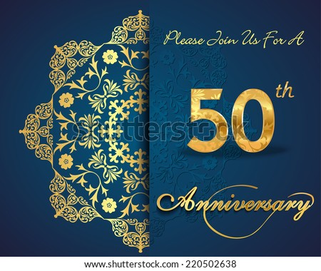 50 year anniversary celebration pattern design, 50th anniversary decorative Floral elements, ornate background, invitation card - vector eps10 - stock vector