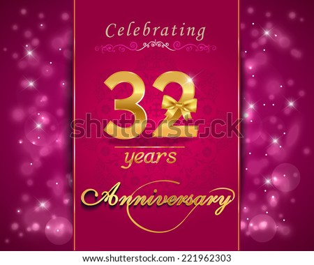 32 Year Anniversary Celebration Sparkling Card Stock Vector