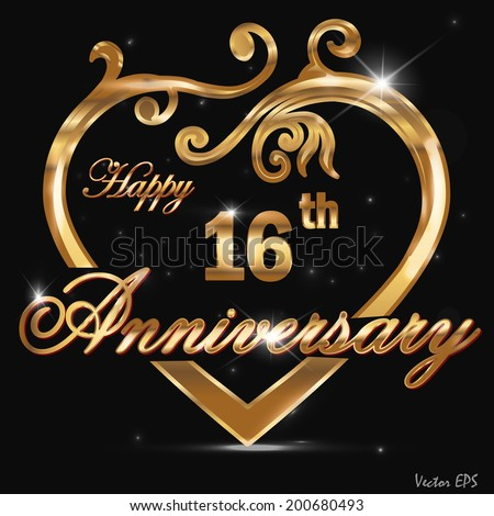 16 Year Anniversary Golden Heart 16th Stock Vector Royalty Free