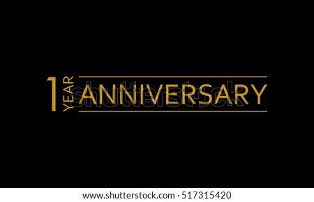 1 year anniversary icon 1st birthday stock vector 517315420