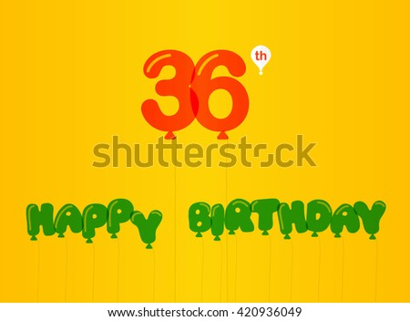36 Year Birthday Celebration Flat Color 36th Stock Vector 420936049