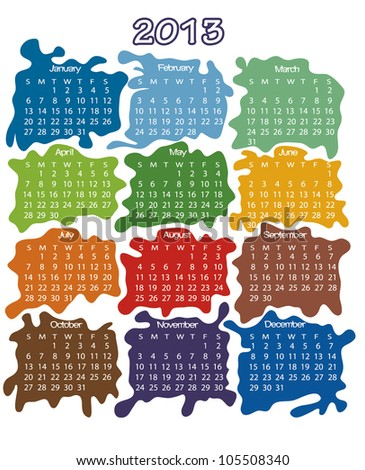 2013 year calendar - stock vector