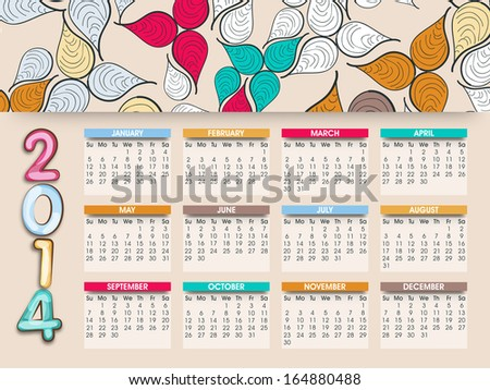 2014 year calendar decorated with colorful floral design.