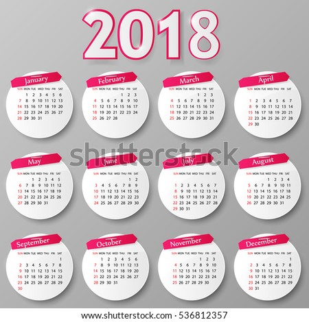 2018 year calendar design. Vector illustration.