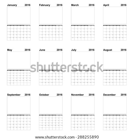 2016 Year Calendar Illustration Isolated on a White Background - stock vector