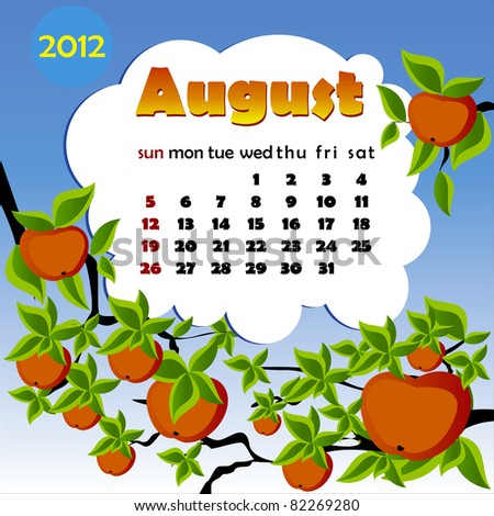 2012 year calendar in vector. August - stock vector