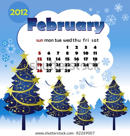 2012 year calendar in vector. February - stock vector
