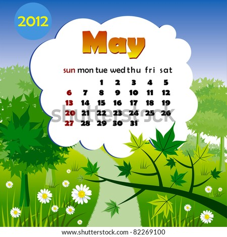 2012 year calendar in vector. May - stock vector