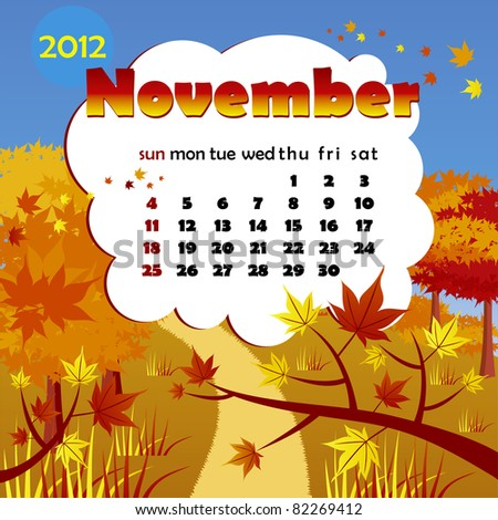 2012 year calendar in vector. November - stock vector