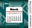 2014 year calendar in vector with arrows. March - stock photo