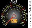 2013 year calendar speedometer car in Spanish. April - stock vector