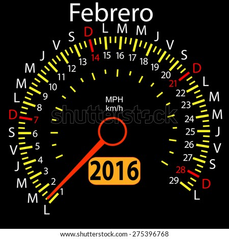 2016 year calendar speedometer car in Spanish, February. Vector illustration. - stock vector