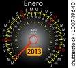 2013 year calendar speedometer car in Spanish. January - stock vector