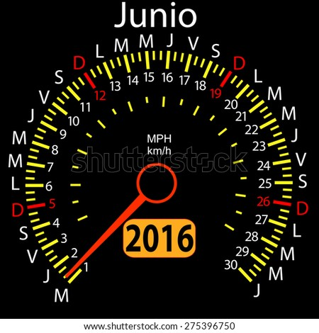 2016 year calendar speedometer car in Spanish, June. Vector illustration. - stock vector