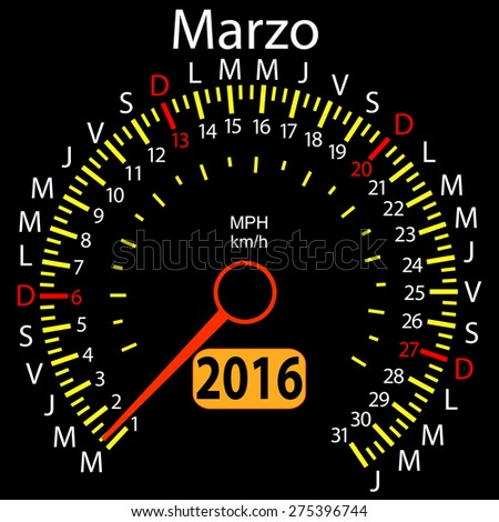 2016 year calendar speedometer car in Spanish, March. Vector illustration.