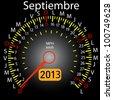 2013 year calendar speedometer car in Spanish. September - stock vector