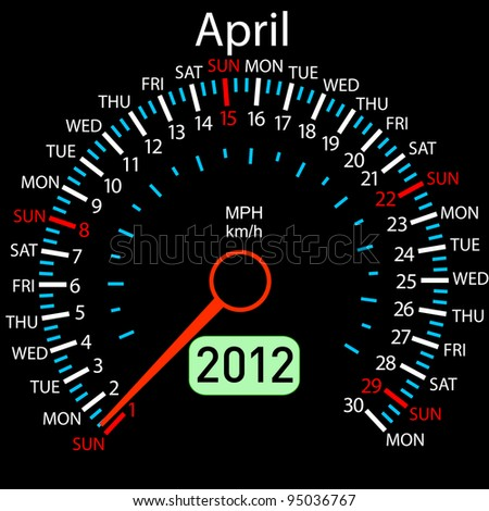 2012 year calendar speedometer car in vector. April. Rasterized version also available in portfolio.