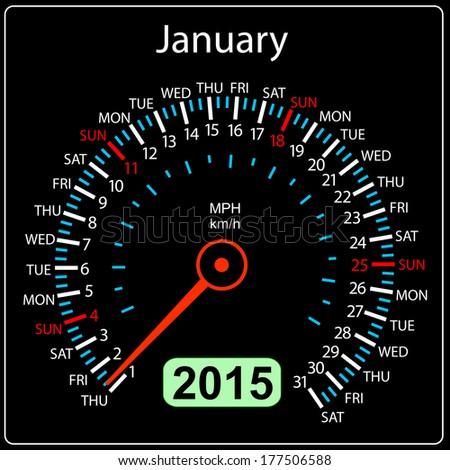 2015 year calendar speedometer car in vector. January. - stock vector