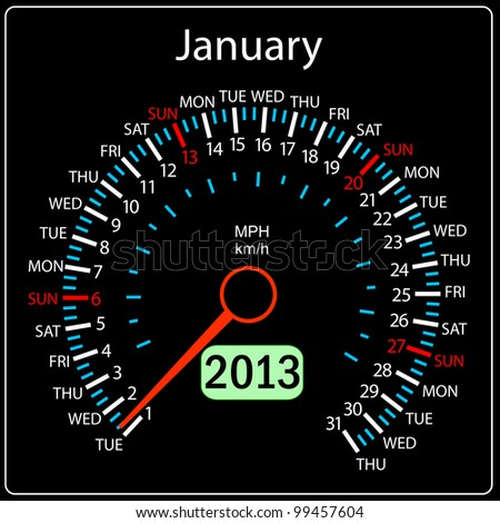 2013 year calendar speedometer car in vector. January. - stock vector
