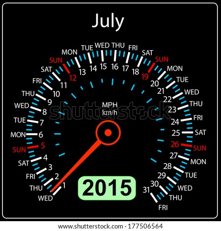 2015 year calendar speedometer car in vector. July. - stock vector