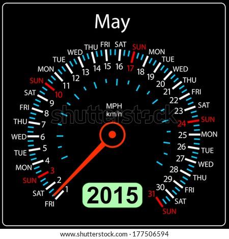 2015 year calendar speedometer car in vector. May. - stock vector