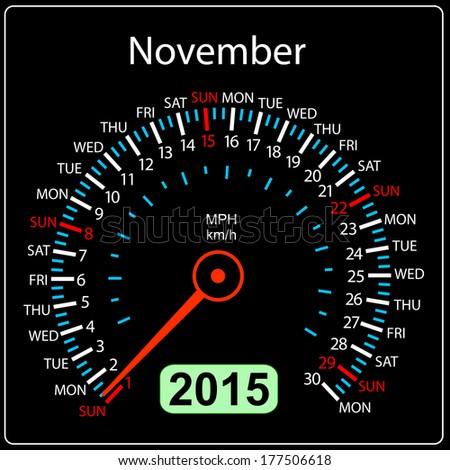 2015 year calendar speedometer car in vector. November. - stock vector