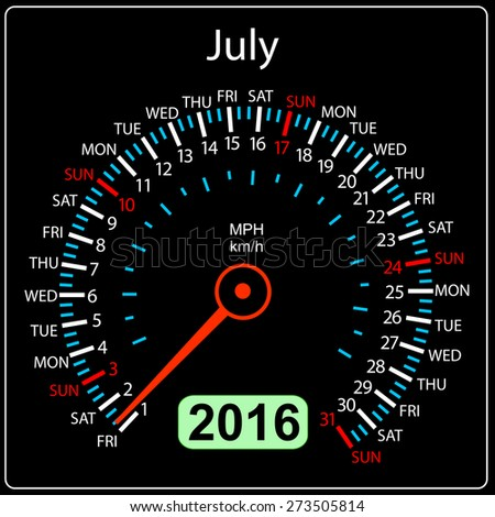 2016 year calendar speedometer car. July. Vector illustration. - stock vector