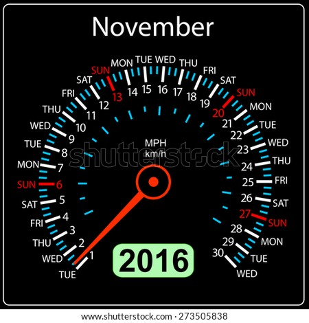 2016 year calendar speedometer car. November. Vector illustration. - stock vector