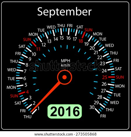 2016 year calendar speedometer car. September. Vector illustration. - stock vector